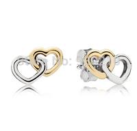 925 Sterling Silver  and 14K Real Gold Heart to Heart Earrings , European Style Jewelry Stud Earrings
