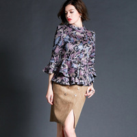 women work wear 2015 autumn and winter dresses vintage fashion flowers print flare sleeve top half-skirt suede fabric twinset