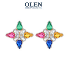 Fashion neon color crystal stud OlenJewellry(China (Mainland))