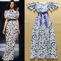 2015 Summer European Runway Vintage Long Dress Women's Short Flare Sleeve Abstract Geometric Printed Tied Waist Maxi Dress