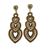 Bohemian vintage long Drop earrings Heart shaped Resin beads green channel earring for women statement jewelry ER-010428