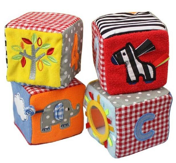 Sunny Safari Blocks Soft Play Cubes Cloth Rattles Numeric Alphabet Animal Baby Activity Toys(China (Mainland))