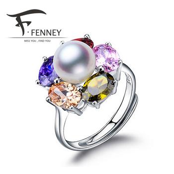 Fenney 100% натуральный жемчуг кольца, идеально круглый естественный пресноводный ...