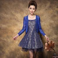 European Station Middle-aged Women High Quality Medium-Long Plus Size Slim Lace Twinset Dress xl 2xl 3xl 4xl Free Shipping