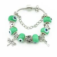 Fashion Charm  Silver Women Bracelets & Bangles Beautiful Heart-shaped Green Beads Chain Bracelets DIY Handmade Accessories
