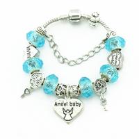 Fashion beautiful Blue beads Fits DIY Snake Chain Bracelets Charm Silver  Women Bracelets & Bangles