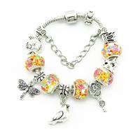 Women DIY Handmade Jewelry Fashion Charm Bracelets  High Quality Glass Bead Bracelets & Bangles Silver Accessory