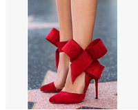 2015 New Arrival Women Shoes Big Bow Pumps Sexy  Ladies Wedding Shoes Zapatos De Mujer Plus Size 2 Colors Free Shipping