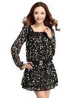 Pastoral Style Spring 2015 New Slim Polka Dot Chiffon Belt Buckle Dress , Free Shipping ,Big Size Lady Dress XL-2XL-3XL-4XL 3397