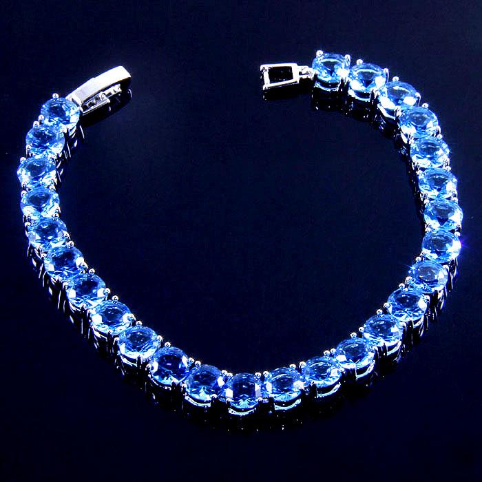 B431 size 18cm silver 18k real white gold plated 168JEWELRY classy charm sky blue sapphire Bracelets EK0001-7(China (Mainland))