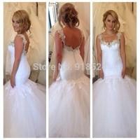 New Arrive Sexy Backless Mermaid White Spaghetti Custom Made China Bridal Gowns Novias Plus Size Wedding Dresses 2015