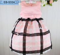 Pretty Pink Baby Dresses New Fashion High Quality Satin Sleeveless Sundress Check Kid's Lantern Dress