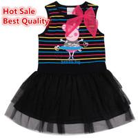 Hot sale best quality peppa pig girl dress pink bow dancing peppa girls vestidos stripe kids clothes black clothing baby vestido