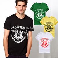 Euro Size Harry Potter T Shirts Men Short Sleeve Cotton Man T-Shirt HOGWARTS Letter Mens tshirt Tops Tee Shirt Free Shipping