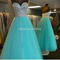 Gorgeous Ball-Gown Prom Dresses Sweetheart Neck Beading Crystal Sleeveless Floor Length Pageant Dresses Custom 2 4 6 8 10 12+ ++