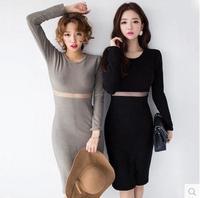 2015 new winter package hip sexy knitted thread stitching waist gauze  dress bottoming vestido de festa femininos party dress