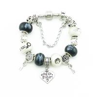 New Charm Silver  Women Bracelets & Bangles Multicolour charms beads Fits DIY Snake Chain Bracelets