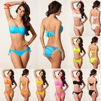 Sell Hot Vintage Bandeau Twist Top Removable neck Halter Push up swim suit Victoria Bandage Bikini 7 Colors