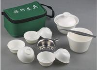 hot sale promotion Chinese travel tea set gift ceramic teacups portable kung fu porcelain teapot folder