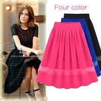 2015 Casual Women Chiffon Maxi Skirt Faldas Long Chiffon Skirt Female Long Skirts Jupe Saia Longa Women Pleated Skirts