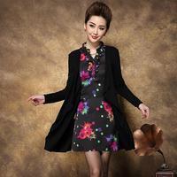 Spring 2015 Temperament Women Leopard Print Popular Faux Two Piece Slim Medium-Long Plus Size Dress L XL 2XL 3XL Free Shipping