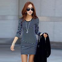 Korean style Women  Spring New 2015 Brief Slim Striped Dress ,Sexy Short Dress Free Shipping