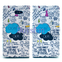 Writing Pattern PU Leather Wallet Case Cover for SONY XPERIA M2 D2305 D2306 107002413