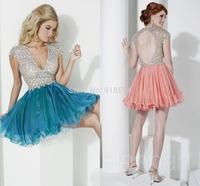 Luxurious wedding Party Dresses Short Organza cocktail dress features a deep v-neckline cap sleeves Open Back 2015
