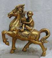 Chinese Brass Fu monkey money Fengshui Zodiac Year Horse sculpture Statue