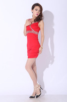 2014 new European and American nightclub promotional sleeveless dress was thin package hip sexy dress 86153 free of charge