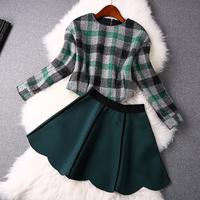 women work wear new 2015 spring vintage fashion plaid patchwork long-sleeve top short skirt twinset