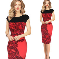 2015 summer red casual knee length office business Women's Printed Work elegant Streched Bodycon Business pencil midi dress 817