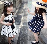 new foreign trade children's clothing children dress girls bow wave point sleeveless casual A line dot  dress