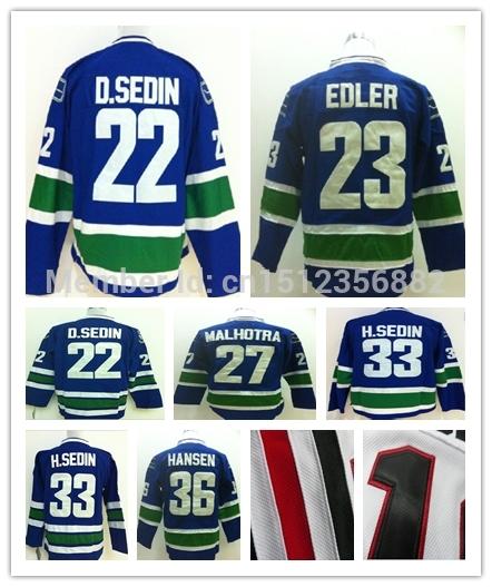 Vancouver Canucks Jerseys 22 Daniel Sedin 23 Alexander Edler 27 Manny Malhotra 33 H.SEDIN 36 Jannik Hansen Authentic(China (Mainland))
