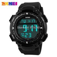 Free shipping 2015 fashion casual Men Personality watch Multifunctional waterproof Digital Electronic Wristwatches Black--rde