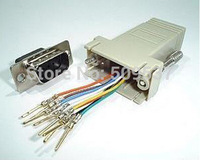 RS232 DB9 Male Connector to RJ45 Female Ethernet Adapter GrayDB9 to RJ45 assemble DB9 with shell