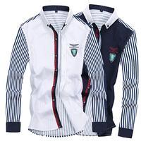 Mens cotton shirt long sleeve casual shirt new korean fashion shirt Male striped navy white slim fit dress shirts 2015 hot sale