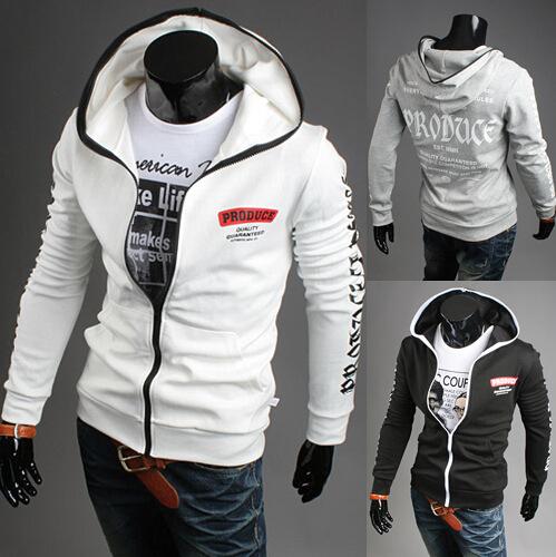 Black/White/Gray Men's Sports Sweatshirts,Cotton Slim Outwears,Mans Base Ball Clothes,Wholesale Man Sports Leisure Outwears(China (Mainland))