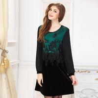 XL-4XL Vestidos Plus Size Mother Long sleeve Embroidery Velvet Vintage Dresses 2015 Spring Fat Women Big Size Clothing XXXL