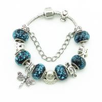 Women Fashion Charm Bracelets DIY Handmade Jewelry High Quality Glass Bead Bracelets & Bangles Silver Fittings