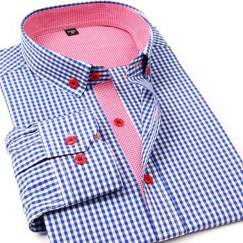 2015 новинка мужчины свободного покроя клетчатую рубашку с длинным рукавом цветовой ...