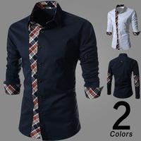 2015 Men Fashion Shirt Men Dress Shirts Autumn Spring Men's Shirt Long-Sleeve Casual Slim Fit Shirts Plus Size 2XL Free Shipping