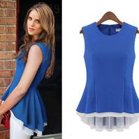 Women's Dovetail Slim Fake two Shirt 2015 Ladies  New Fashion  Sleeveless Chiffon Shirt Tops camisetas y tops