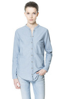 2015 autumn women's fashion long-sleeve slim denim shirt water wash tannase shirt female 15020904