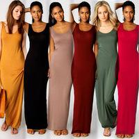 2015 Maxi Long Club Dresses 100% Cotton Sleeveless Solid Summer Casual Slim Bodycon Bandage Plus Size Clubwear S M L A020
