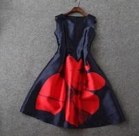 2015 European Summer High Quality Designer Dress Women's Elegant Big Red Floral Print Dark Blue Brief Knee Length Tank Dress
