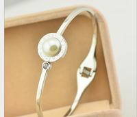 Licensing round pearl diamond rose gold bracelet 14k rose gold bracelet