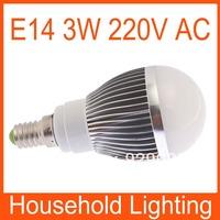 Warm White/White E14 Dimmable Globe LED Bulbs Light Lamp AC 220V 3W Free Shipping 82101 82102