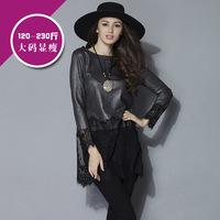 XL-5XL 2015 Spring Fashion Long sleeve Patchwork Long Lace T Shirt Plus size Women Clothing blusas Tops XXXL 4XL 3Colors