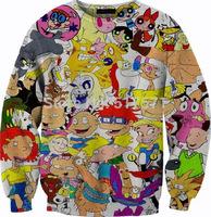 WOMEN/MEN   3D 90's Nickelodeon Cartoon Print  Pokemon  Sweatshirts s Crewneck